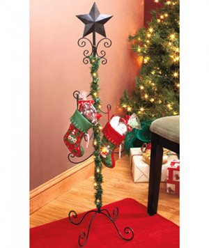 New standing christmas holiday lighted garland iron stocking holder