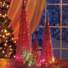 New Set of 3 Red Battery Operated Color-Changing Christmas Trees