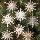 New Set of 8 Snowflakes Frosted Glitter Ornaments