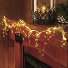 "New Gold 54"" Battery Operated Lighted Crystal Garland"