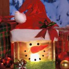 New Lighted Glass Block Snowman Christmas Holiday Decor