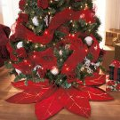 New Red Polyester Poinsettia Tree Decorative Christmas Tree Skirt
