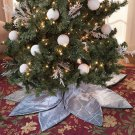 New Silver Polyester Poinsettia Tree Decorative Christmas Tree Skirt