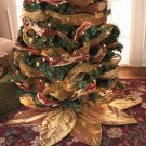 New Gold Polyester Poinsettia Tree Decorative Christmas Tree Skirt