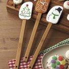 New Set of 3 Christmas Tree / Snowman / Gingerbread Man Holiday Kitchen Spoonulas