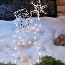 "New 42"" Metal Lighted Snowman Holiday Christmas Yard Decor Figure"