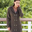 Women's (Chocolate Brown Large 14 / 16) Long Hooded Cardigan
