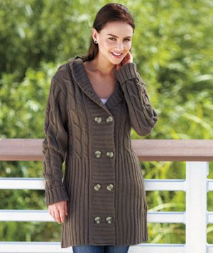 Women's (Chocolate Brown Medium 10 / 12) Long Hooded Cardigan