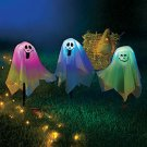 New Set of 3 Battery Operated Color-Changing Halloween Ghost Stakes