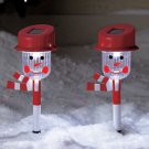 New Set of 2 Snowmen Holiday Solar Stake Set