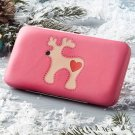 New Pink Holiday Christmas Reindeer Flat Wallet