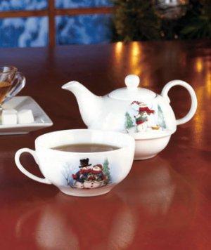 New Porcelain Snoman Tea for 1 Set