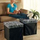 New Oversized Foldable Zebra Print Storage Ottoman