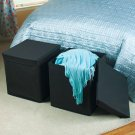 New Oversized Foldable Black Storage Ottoman