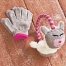 New Kitten Design Kids' Knit Critter Earmuff and Glove Set