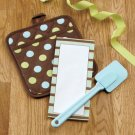 New 3 Pc Pot Holder Note Pad & Spatula Chocolate Dots Design Gift Set