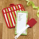 New 3 Pc Pot Holder Note Pad & Spatula Holiday Christmas Stripe  Design Gift Set