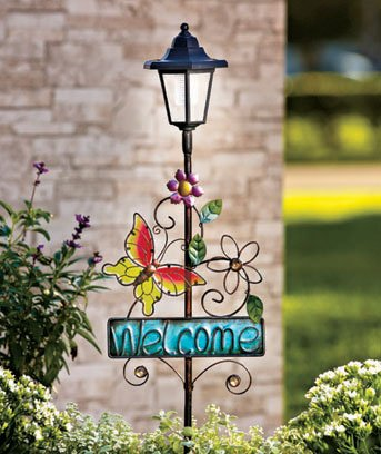New Solar Metal Butterfly Welcome Garden Decor Stake