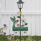 New Solar Metal Hummingbird Welcome Garden Decor Stake