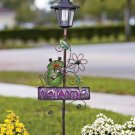 New Solar Metal Frog Welcome Garden Decor Stake