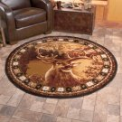 "New Wildlife Hunting Deer 5' 2"" Round Decorative Rug"