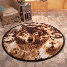 "New Wildlife Hunting Wolves 5' 2"" Round Decorative Rug"