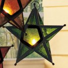 New Metal & Glass Green Hanging Star Candleholder (1)