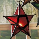 New Metal & Glass Red Hanging Star Candleholder (1)