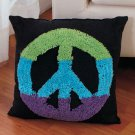 "New 14"" Multicolored Peace Sign Pillow Accent"