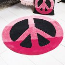 "New 30"" Pink Peace Sign-Shaped Floor Rug"