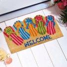 """New 18"""" x 30"""" Shaped Novelty Coir Flip Flops Welcome Doormat"""