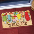"New 18"" x 30"" Shaped Novelty Coir Cocktail Cups Welcome Doormat"