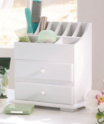 New White Wooden 2-Drawer Beauty Storage Organizer