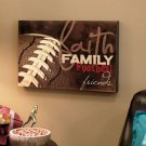 "New 12"" x 16"" Wooden Construction Faith, Family...Football Sport Wall Art Decor"