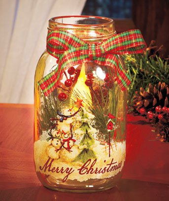 New Merry Christmas Snowman Holiday Battery Operated LED Candle Jar