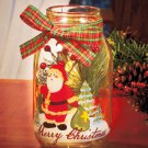 New Merry Christmas Santa Holiday Battery Operated LED Candle Jar