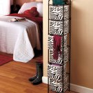 New Metal Zebra Print with Black Frame Rack 6-Bin Storage Organizer Unit