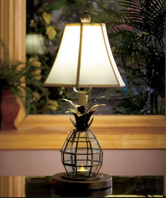 New Metal and Glass Pineapple Lantern Table Top Lamp