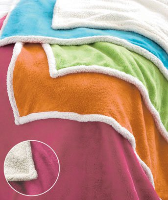 "New 50"" x 60"" Bright Fuchsia Plush Sherpa Polyester Throw"
