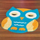 New Aqua Blue & Orange Owl-Shaped Bedroom / Bathroom Floor Rug