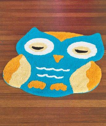 New Aqua Blue & Orange Owl-Shaped Bedroom / Bathroom Floor Rug