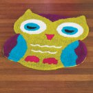 New Multi Colored Purple Blue Green & Black Owl-Shaped Bedroom / Bathroom Floor Rug