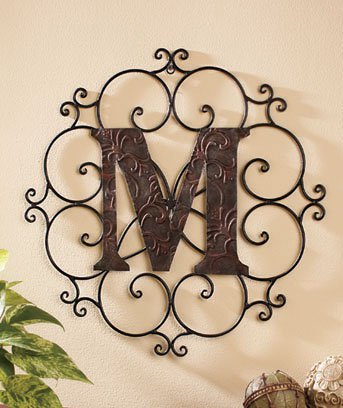 New Metal Monogram Wall Art Hanging Letter M