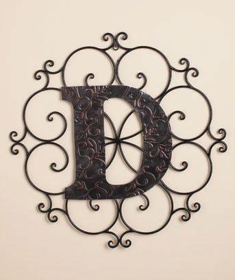 New Metal Monogram Wall Art Hanging Letter D