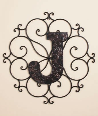 New Metal Monogram Wall Art Hanging Letter J