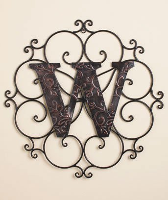 New Metal Monogram Wall Art Hanging Letter W