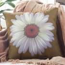 "New 18"" sq. Daisy Olive Decorative Floral Polyester Pillow"