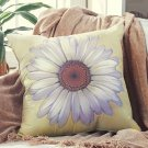 "New 18"" sq. Daisy Sand Decorative Floral Polyester Pillow"