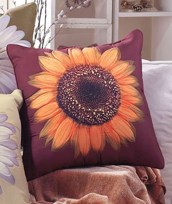 "New 18"" sq. Sunflower Rust Decorative Floral Polyester Pillow"