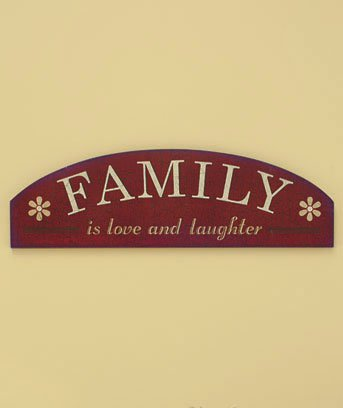 "New Wooden Construction Family is love and laughter 20"" Sentiment Wall Art Hanging  Plaque"